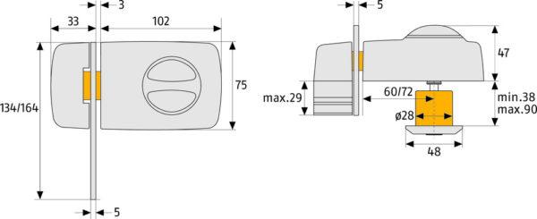 Tür-Zusatzschloss 7030 W CL/DFNLI